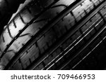 spin of clean tire  black new... | Shutterstock . vector #709466953