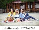 summer  holidays  vacation and... | Shutterstock . vector #709469743
