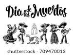 day of the dead. the skeleton... | Shutterstock .eps vector #709470013