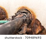 electrical conduit and rusty... | Shutterstock . vector #709489693