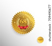 68 years anniversary golden... | Shutterstock .eps vector #709490677