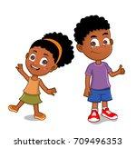 african american kids | Shutterstock .eps vector #709496353