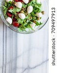 fresh salad with tomatoes ... | Shutterstock . vector #709497913