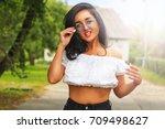 happy european girl with... | Shutterstock . vector #709498627
