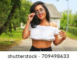 young beautiful girl in glasses ... | Shutterstock . vector #709498633