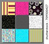 memphis seamless background set ... | Shutterstock . vector #709500427