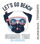 let's go beach slogan and cute... | Shutterstock .eps vector #709500493