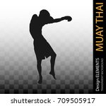 asian martial art muay thai ... | Shutterstock .eps vector #709505917