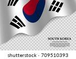waving flag of south korea on... | Shutterstock .eps vector #709510393