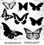 vintage butterfly vector... | Shutterstock .eps vector #709516927