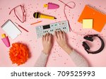 top view flat lay with feminine ... | Shutterstock . vector #709525993