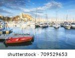 red fisherman's boat in the...   Shutterstock . vector #709529653