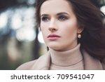 beautiful woman fashion model... | Shutterstock . vector #709541047