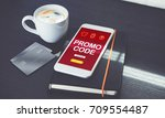 promo code discount on mobile... | Shutterstock . vector #709554487