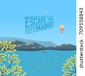 mountain green valley landscape ... | Shutterstock .eps vector #709558843