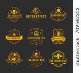 oktoberfest labels  badges and... | Shutterstock .eps vector #709562353