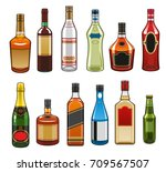 alcohol drinks bottles icons....   Shutterstock .eps vector #709567507