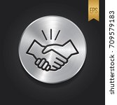 handshake icon with button...   Shutterstock .eps vector #709579183