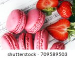 sweet and colourful french... | Shutterstock . vector #709589503