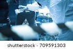 asian scientist wear chemical... | Shutterstock . vector #709591303