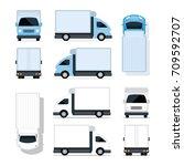 mini truck blue and white ... | Shutterstock .eps vector #709592707