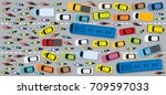 cars on road with traffic jam... | Shutterstock .eps vector #709597033