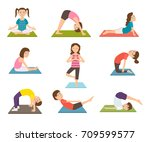child yoga poster with kids...   Shutterstock .eps vector #709599577