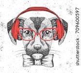 hipster animal dog. hand... | Shutterstock .eps vector #709600597