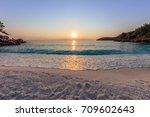 sunrise in marble beach ... | Shutterstock . vector #709602643