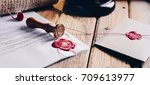notary public wax stamper and... | Shutterstock . vector #709613977