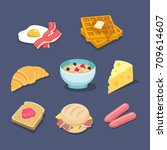 breakfadt related food colorful ... | Shutterstock .eps vector #709614607