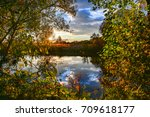 colorful autumn landscape on a... | Shutterstock . vector #709618177