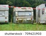 decrepit caravan on a travel...   Shutterstock . vector #709621903