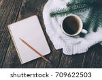 winter and autumn composition.... | Shutterstock . vector #709622503