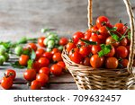 many tomatoes called cherry... | Shutterstock . vector #709632457