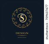round line graphics monogram.... | Shutterstock .eps vector #709637677