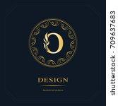 line graphics monogram. elegant ... | Shutterstock .eps vector #709637683