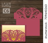 laser cut wedding invitation... | Shutterstock .eps vector #709640263