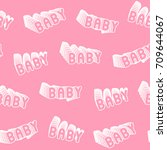 seamless pattern with pink... | Shutterstock .eps vector #709644067