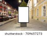 blank street billboard at night ... | Shutterstock . vector #709657273