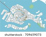 colorful venice vector city map | Shutterstock .eps vector #709659073