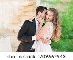 closeup portrait of wedding... | Shutterstock . vector #709662943