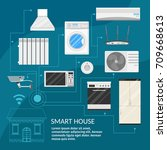 smart home infographic concept... | Shutterstock .eps vector #709668613