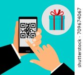 hand holding smartphone with qr ... | Shutterstock .eps vector #709674067
