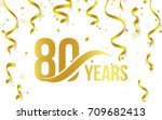 isolated golden color number 80 ... | Shutterstock .eps vector #709682413