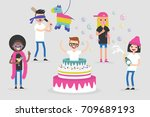 celebration. birthday party. a... | Shutterstock .eps vector #709689193