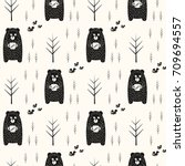 Bear  Bees And Trees Seamless...