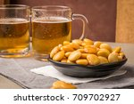 tasty lupins in metal mug and... | Shutterstock . vector #709702927