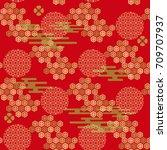 beautiful japanese seamless ... | Shutterstock .eps vector #709707937