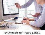 team of web app developers... | Shutterstock . vector #709712563